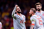 Isco Alarcon of Spain (L) celebrating his score during the International Friendly 2018 match between Spain and Argentina at Wanda Metropolitano Stadium on 27 March 2018 in Madrid, Spain. Photo by Diego Souto / Power Sport Images