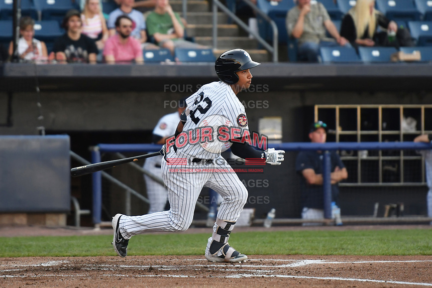 Staten Island Yankees Everson Pereira (22) at bat during a NY-Penn League game against the Hudson Valley Renegades on June 27, 2019 at Richmond County Bank Ballpark in Staten Island, New York.  Staten Island defeated Hudson Valley 3-2.  (Robert Pimpsner/Four Seam Images)