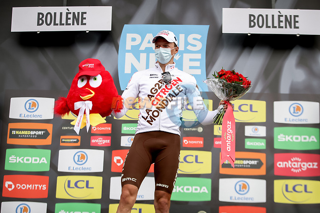 Oliver Naesen (BEL) AG2R Citroen Team wins the days combativity prize at the end of Stage 5 of Paris-Nice 2021, running 200km from Vienne to Bollene, France. 11th March 2021.<br /> Picture: ASO/Fabien Boukla | Cyclefile<br /> <br /> All photos usage must carry mandatory copyright credit (© Cyclefile | ASO/Fabien Boukla)