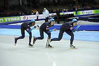 SCHAATSEN: HEERENVEEN: Thialf, World Cup, 04-12-11, Team Pursuit USA, Shani Davis, Patrick Meek, Jonathan Kuck, ©foto: Martin de Jong