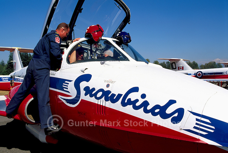 Canadian Forces Snowbirds on Display, Abbotsford International Airshow, BC, British Columbia, Canada - Snowbirds Crew working in Cockpit