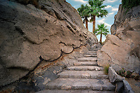 Stone step pathway at Silver Rock Golf Resort. La Quinta, California