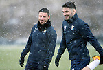 St Johnstone Training…22.01.19   McDiarmid Park<br />Michael O'Halloran and Tony Watt pictured during a snowy training session this morning ahead of tomorrw night's game against Livingston.<br />Picture by Graeme Hart.<br />Copyright Perthshire Picture Agency<br />Tel: 01738 623350  Mobile: 07990 594431
