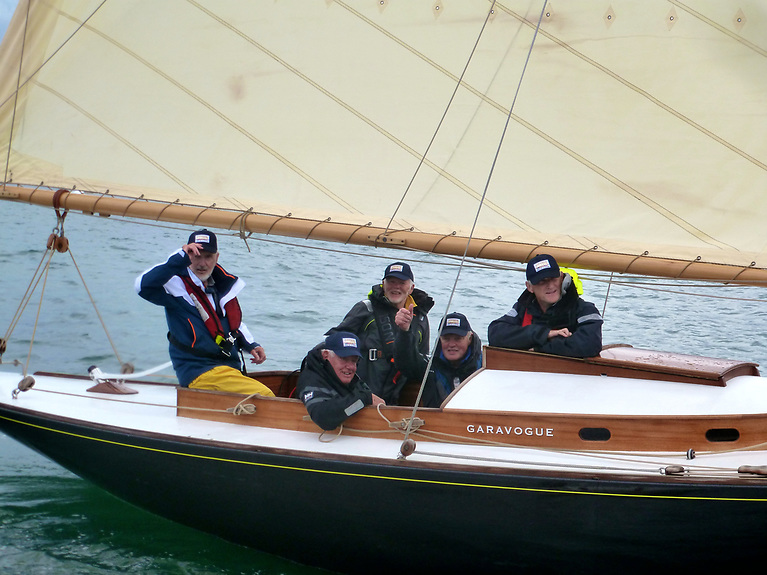 Fionan de Barra and a crew of DB 21 veterans on Garavogue, built by James Kelly of Portrush in 1903. Class lore would have it that Garavogue is the only DB 21 which hasn't sunk at some stage in her long life. Photo: W M Nixon