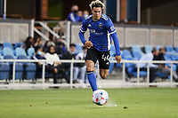 SAN JOSE, CA - MAY 15: Cade Cowell #44 of the San Jose Earthquakes chases down a  ball during a game between Portland Timbers and San Jose Earthquakes at PayPal Park on May 15, 2021 in San Jose, California.