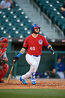Buffalo Bisons designated hitter Jarrod Saltalamacchia (40) bats during a game against the Syracuse Chiefs on May 18, 2017 at Coca-Cola Field in Buffalo, New York.  Buffalo defeated Syracuse 4-3.  (Mike Janes/Four Seam Images)