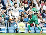 Real Madrid's Daniel Carvajal (r) and Elche CF's Ferran Corominas during La Liga match.September 23,2014. (ALTERPHOTOS/Acero)