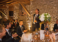 Switserland, Genève, September 16, 2015, Tennis,   Davis Cup, Switserland-Netherlands, location of the official diner, Domaine du Clos Du Chateau Matwe Middelkoop is being presented<br /> Photo: Tennisimages/Henk Koster