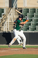 Eric Fisher (11) of the Greensboro Grasshoppers at bat against the Kannapolis Intimidators at CMC-Northeast Stadium on August 2, 2015 in Kannapolis, North Carolina.  The Intimidators defeated the Grasshoppers 4-2.  (Brian Westerholt/Four Seam Images)