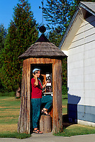World's Oldest Telephone Booth inside Cedar Tree Trunk, Salmo, BC, British Columbia, Canada - (approx. 500 years old) (Model Released)