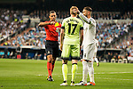 The referee, Real Madrid's Sergio Ramos and Manchester City's Kevin De Bruyne during Champions League 2015/2016 Semi-Finals 2nd leg match at Santiago Bernabeu in Madrid. May 04, 2016. (ALTERPHOTOS/BorjaB.Hojas)