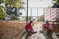 2 Team Androni-Sidermec-Bottecchia riders resting for a while after finishing<br /> <br /> 98th Milano - Torino 2017 (ITA) 186km