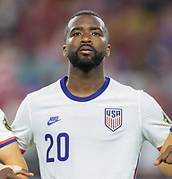 DALLAS, TX - JULY 25: Shaq Moore #20 of the United States during a game between Jamaica and USMNT at AT&T Stadium on July 25, 2021 in Dallas, Texas.