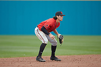 San Diego State Aztecs shortstop Anthony Walters (10) on defense against the UNCG Spartans at Springs Brooks Stadium on February 16, 2020 in Conway, South Carolina. The Spartans defeated the Aztecs 11-4.  (Brian Westerholt/Four Seam Images)