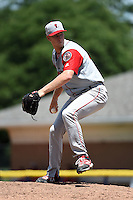 Lowell Spinners pitcher Kuehl McEachern (18) delivers a pitch during a game against the Batavia Muckdogs on July 17, 2014 at Dwyer Stadium in Batavia, New York.  Batavia defeated Lowell 4-3.  (Mike Janes/Four Seam Images)