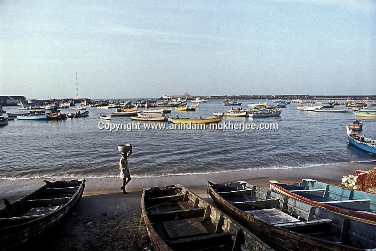 Chowra beach, a fishing harbour near Kovalam, Trivandrum, Kerala, India