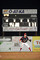 Batavia Muckdogs shortstop Micah Brown (55) during a game against the Tri-City ValleyCats on July 14, 2017 at Dwyer Stadium in Batavia, New York.  Batavia defeated Tri-City 8-4.  (Mike Janes/Four Seam Images)
