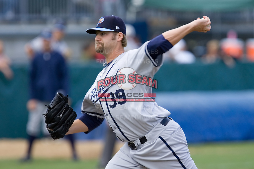 June 22, 2008: Sean Henn of the Portland Beavers toes the rubber against the Tacoma Rainiers during a Pacific Coast League game at Cheney Stadium in Tacoma, Washington.