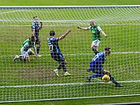 20th February 2021; Easter Road, Edinburgh, Scotland; Scottish Premiership Football, Hibernian versus Hamilton Academical; Josh Doig of Hibernian nods home Hibs second goal into an empty net