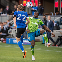 SAN JOSE, CA - MAY 12: Nouhou Tolo #5 of the Seattle Sounders heads the ball during a game between San Jose Earthquakes and Seattle Sounders FC at PayPal Park on May 12, 2021 in San Jose, California.