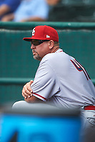 Syracuse Chiefs pitching coach Bob Milacki (48) in the dugout during a game against the Buffalo Bisons on July 31, 2016 at Coca-Cola Field in Buffalo, New York.  Buffalo defeated Syracuse 6-5.  (Mike Janes/Four Seam Images)