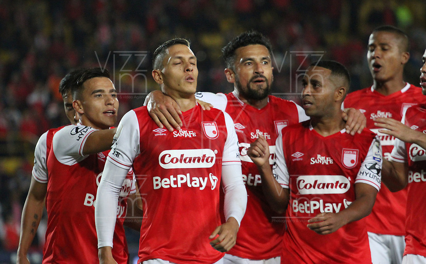 during a Copa Libertadores soccer match in Bogota, Colombia, Thursday, March 1, 2018. (AP Photo/Felipe Caicedo)