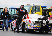 Sept. 18, 2011; Concord, NC, USA: NHRA pro stock driver Jason Line after losing in the final round of the O'Reilly Auto Parts Nationals at zMax Dragway. Mandatory Credit: Mark J. Rebilas-