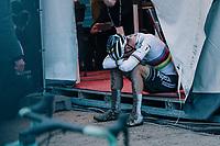 CX world champion Mathieu Van der Poel (NED/Alpecin-Fenix) exhausted after winning the UCI Cyclocross World Cup Namur 2020 (BEL) Men's Race<br /> <br /> ©kramon
