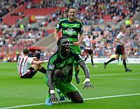Bafetibis Gomis of Swansea City celebrates scoring their first goalduring the Barclays Premier League match between Sunderland and Swansea City played at Stadium of Light, Sunderland