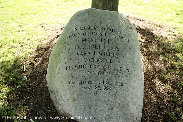 Women of the Topsfield Parish memorial located in the town common in Topsfield Massachusetts USA , which is in  scenic New England...Notes: Mary Esty, Elizabeth How, Sarah Wildes were victims of the witchcraft delusion of 1692