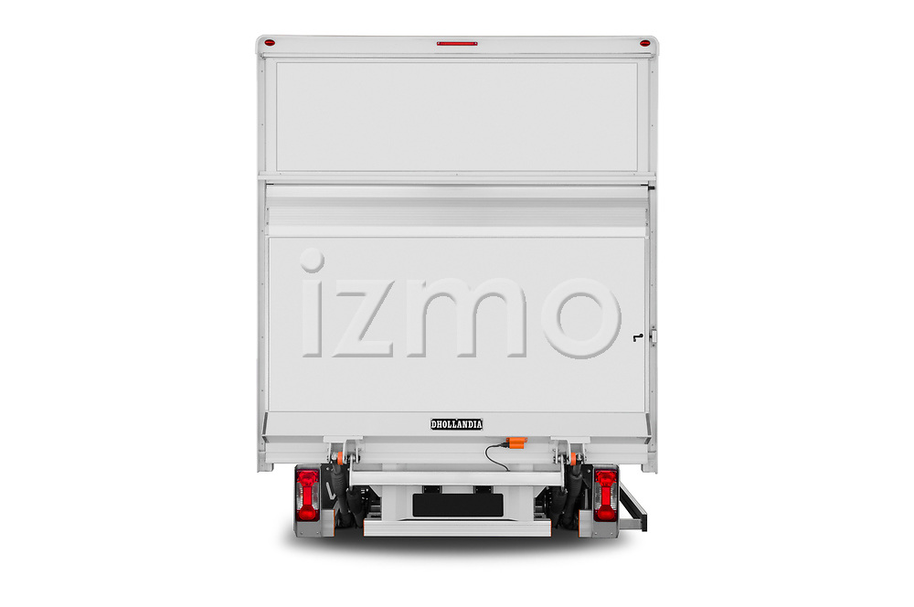 Straight rear view of 2020 Iveco Daily C 2 Door Van Box Rear View  stock images