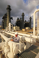 Supervisor inspecting natural gas pipeline at power cogeneration plant