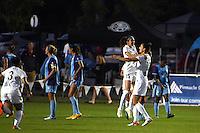 Kansas City, MO - Saturday May 28, 2016: FC Kansas City midfielder Yael Averbuch (10) is congratulated by Erika Tymrak (15) after scoring a goal against the Orlando Pride during a regular season National Women's Soccer League (NWSL) match at Swope Soccer Village.  Kansas City won 2-0.