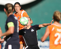 Lori Lindsey #6 of Washington Freedom goes for the ball with Yael Averbuch  #10 of Sky Blue FC during a WPS match at RFK Stadium on May 23, 2009 in Washington D.C.