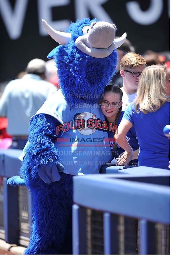 Tulsa Drillers mascot Hornsby poses with young fan prior to a game against the Arkansas Travelers at Oneok Field on May 21, 2017 in Tulsa, Oklahoma.  The Drillers won 13-6. (Dennis Hubbard/Four Seam Images)