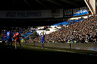 Joe Bennett of Cardiff City takes a throw in as the sun casts a shadow on most of the pitch during the Sky Bet Championship match between Cardiff City and Middlesbrough at the Cardiff City Stadium. Cardiff, Wales, UK. Saturday 17 February 2018