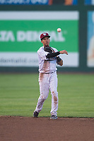 Idaho Falls Chukars shortstop Offerman Collado (0) throws to first base during a Pioneer League game against the Great Falls Voyagers at Melaleuca Field on August 18, 2018 in Idaho Falls, Idaho. The Idaho Falls Chukars defeated the Great Falls Voyagers by a score of 6-5. (Zachary Lucy/Four Seam Images)