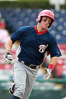 Washington Nationals minor league outfielder Bryce Harper (34) runs the bases during a game vs. the Chinese National Team in an Instructional League game at Holman Stadium in Vero Beach, Florida September 30, 2010.   Harper was selected in the first round, 1st overall, of the 2010 MLB Draft out of Southern Nevada Junior College.  Photo By Mike Janes/Four Seam Images