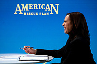 United States Vice President Kamala Harris meets with women leaders in Congress and advocacy organizations on the American Rescue Plan, during a virtual roundtable on the American Rescue Plan, at the Eisenhower Executive Office Building in Washington, DC on Thursday, February 18, 2021. The Rescue Plan includes direct payments to those in need, money to help reopen schools and extended unemployment benefits.\<br /> CAP/MPI/RS<br /> ©RS/MPI/Capital Pictures