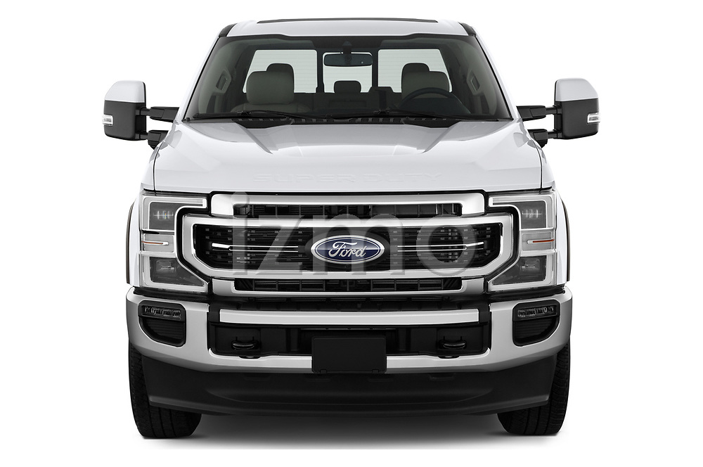 Car photography straight front view of a 2021 Ford F-250-Super-Duty Lariat 4 Door Pick-up Front View