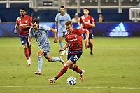 KANSAS CITY, KS - SEPTEMBER 02: John Nelson #26 of FC Dallas runs with the ball during a game between FC Dallas and Sporting Kansas City at Children's Mercy Park on September 02, 2020 in Kansas City, Kansas.
