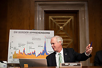 United States Senator Ron Johnson (Republican of Wisconsin), Chairman, US Senate Committee on Homeland Security and Government Affairs speaks at a oversight hearing examining the U.S. Customs and Border Protection (CBP) on Capitol Hill in Washington, U.S., June 25, 2020.<br /> Credit: Alexander Drago / Pool via CNP/AdMedia