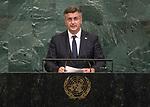 72 General Debate – 20 September <br /> <br /> by His Excellency Andrej Plenković, Prime Minister of Croatia
