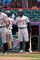 Altoona Curve Bralin Jackson (5) high fives Arden Pabst (53) after a home run during an Eastern League game against the Erie SeaWolves on June 5, 2019 at UPMC Park in Erie, Pennsylvania.  Altoona defeated Erie 6-2.  (Mike Janes/Four Seam Images)
