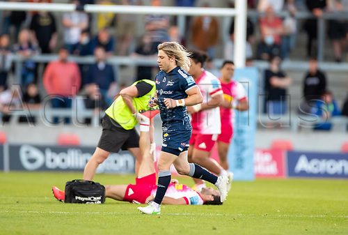 4th June 2021; AJ Bell Stadium, Salford, Lancashire, England; English Premiership Rugby, Sale Sharks versus Harlequins; Faf De Klerk of Sale Sharks receives a yellow card with 30 minutes remaining