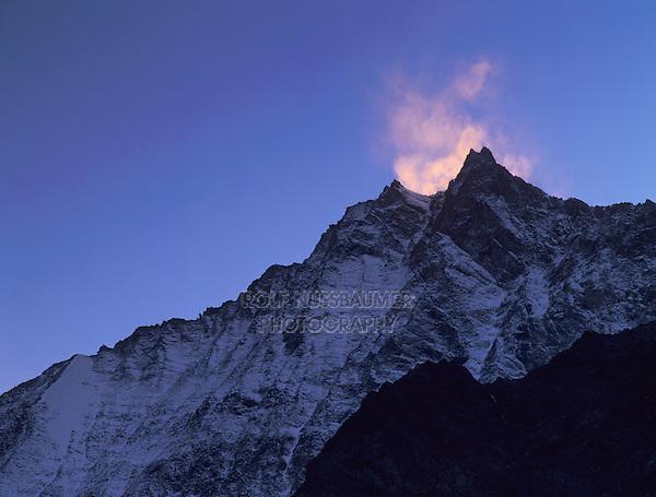 Lenzspitze at sunset, Saas Fee, Swiss Alps, Switzerland