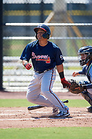 Atlanta Braves Victor De Hoyos (58) during a Minor League Extended Spring Training game against the Tampa Bay Rays on April 15, 2019 at CoolToday Park Training Complex in North Port, Florida.  (Mike Janes/Four Seam Images)