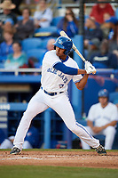 Dunedin Blue Jays right fielder Derrick Loveless (21) at bat during a game against the Clearwater Threshers on April 8, 2017 at Florida Auto Exchange Stadium in Dunedin, Florida.  Dunedin defeated Clearwater 12-6.  (Mike Janes/Four Seam Images)