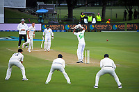 NZ's Tim Southee bowls to Pakistan's Shan Masood during day three of the second International Test Cricket match between the New Zealand Black Caps and Pakistan at Hagley Oval in Christchurch, New Zealand on Tuesday, 5 January 2021. Photo: Dave Lintott / lintottphoto.co.nz