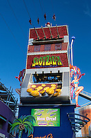 Las Vegas, Nevada.  Fremont Street.  SlotZilla, Starting Point for the Zipline and Zoomline Rides.  Four riders begin their ride.